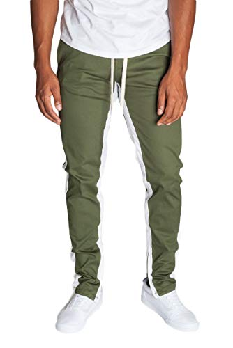 KDNK Men's Tapered Skinny Fit Joggers - Striped Track Pants with Ankle Zippers (Small, Olive/White Stripes)