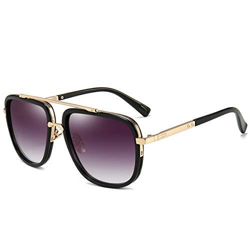 Oversized Square Sunglasses for Men Women pilot Aviator Shades Gold Frame Retro Brand Designer