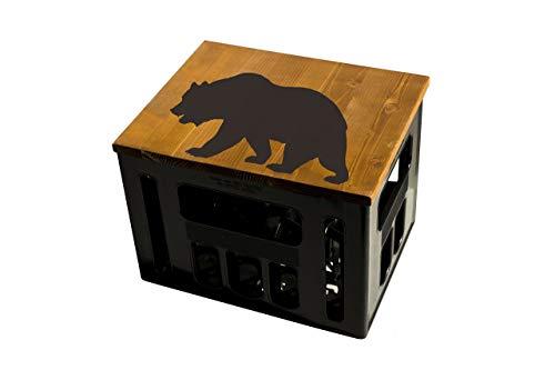 ultiMade Bierkastensitz Holz Sitzauflage für Bierkiste Geschenkidee Geschenk für Männer Biergeschenk Hocker Holz: Tiere Bär