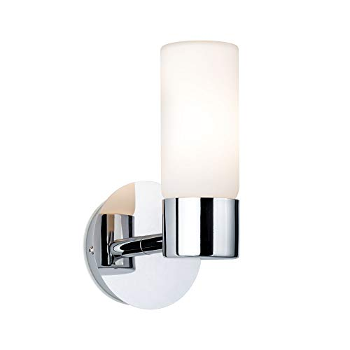 Paulmann 70839 Wandleuchte Eleon max. 33 Watt IP44 Wandlampe Chrom, Satin Wohnzimmerlampe Metall, Glas Flurlampe G9