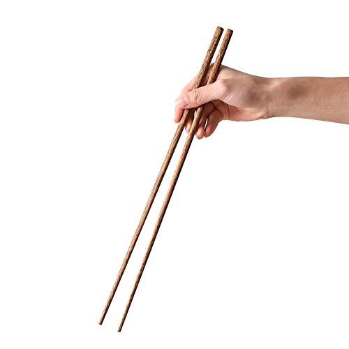 Muso Wood Extra Long Cooking Chopsticks 16.5' Reusable Wenge Wooden Chop Sticks - Japanese Classic Style Chopsticks Kitchen 2 Pairs