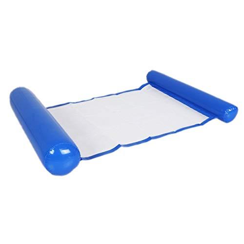 Timetided Hamaca de Agua de Gran tamaño Fila Flotante con Red de Nailon Sillón reclinable Plegable de Playa Silla de salón Inflable Flotador de Piscina Anillo de natación - Azul Oscuro