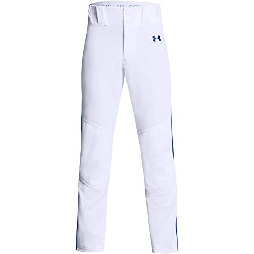 Under Armour Boys' Utility Relaxed Piped Baseball Pants , White (101)/Royal Blue , Youth Medium