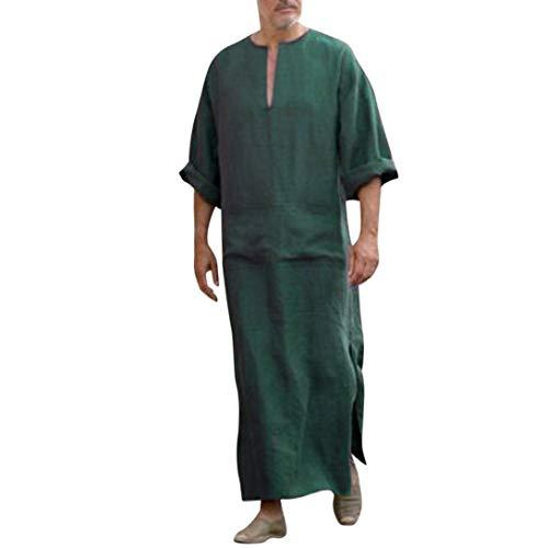 Túnicas étnicas para Hombres Suelta el Vestido Suelto de Manga Larga Vintage Kaftan Verde Negro