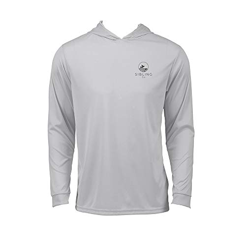 Sibling Co Long Sleeve Sun Shirt for Men and Women UPF 50+ Cool Dry Performance Hooded T-Shirt Best for Hiking and Fishing (Medium, Hammerhead Gray)