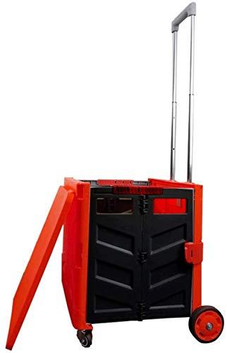 GJPSXTY Carro de la compra multifunción de 2 ruedas, 4 ruedas, plegable, móvil, ligero, con asiento, 4 ruedas de 65 litros, color rojo