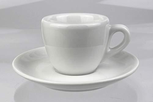 Moka Consorten | Extra dickwandige Espressotasse »Aosta« | 0,8 cm Tassenwand | Füllmenge (bis zur Oberkante): 70 ml | weiß glänzend | 1 Tasse & 1 Untertasse | Made in Italy