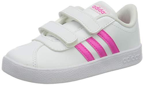 Adidas VL Court 2.0 CMF I, Zapatillas de Deporte Skateboard Bebé Niños, Gris (FTWR White/Shock Pink/FTWR White), 19 EU