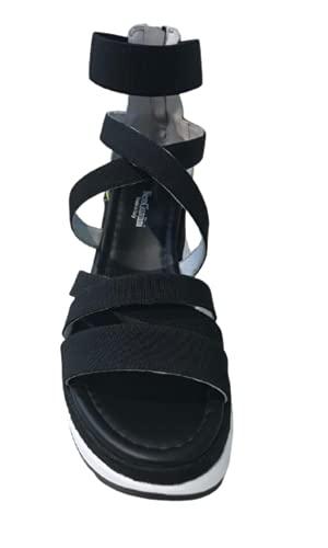 NERO GIARDINI Sandalo donna aperto art. E115860D con zeppa bianca, lacci intrecciati e elastico alla caviglia, nero (numeric_35)