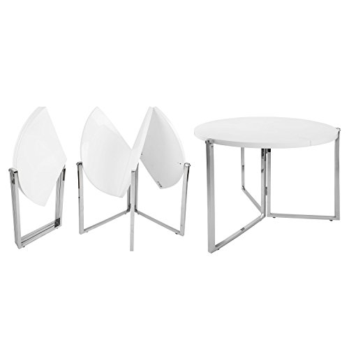 SpaceMaster Easy Folding Space Saving Expandable Large Round Kitchen and Dining Table, White