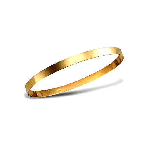 Jewelco London Ladies Solid 9ct Yellow Gold Flat Band Slave 5mm Bangle Bracelet