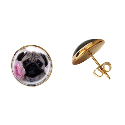 Lindo flor mascota perro perro perrito pendientes de cristal caniche foto cabujón pendiente para...