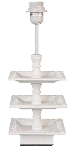 Clayre & Eef 6LMP205 tafellamp staande lamp lampvoet wit zonder lampen ca. 16 x 16 x 39 cm, E27, max. 60 W.