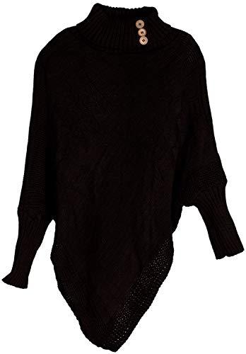 styleBREAKER Dames fijn gebreide poncho met vlechtpatroon en mouwen, sjaalkraag 08010055