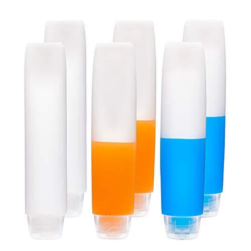 BENECREAT 6PACK 50ml Klare Leere Reise Flasche Kunststoff Squeeze Flasche Soft Tubes Flasche nachfullbar Kosmetik-Container mit Flip-Caps fur Shampoo, Conditioner, Lotion, Toilettenartikel