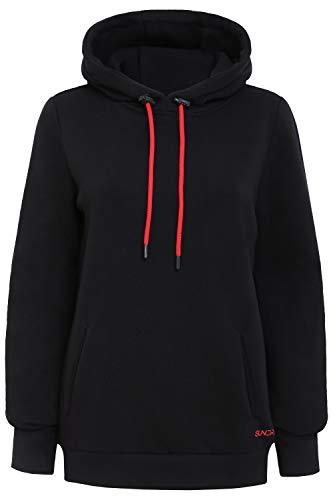 Sundried Damska jednokolorowa czarna bluza z kapturem do uprawiania sportu moda najlepsza na zimę długa gruba bluza