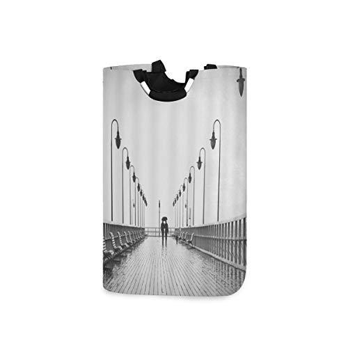 BEITUOLA Wäschesammler Wäschekorb Faltbarer Aufbewahrungskorb,Brücke Regenschirm Paar Silhouette Bank Street Light Grey,Wäschesack - Wäschekörbe - Laundry Baskets