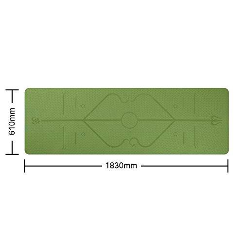 Regalo Yoga Mat, Antideslizante Alfombra con Posicionamiento Línea, Yogatoes Yoga Mat, TPE portátil Yoga Mats Multicolor, for Principiantes Estera de la Aptitud Antideslizante (Farbe : Green)