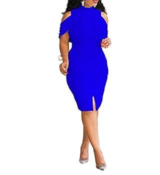 VERWIN Plus Size Knee-Length Bead Sleeveless Turtleneck Women s Bodycon Dress Midi Dress  XXXXX-Large Blue