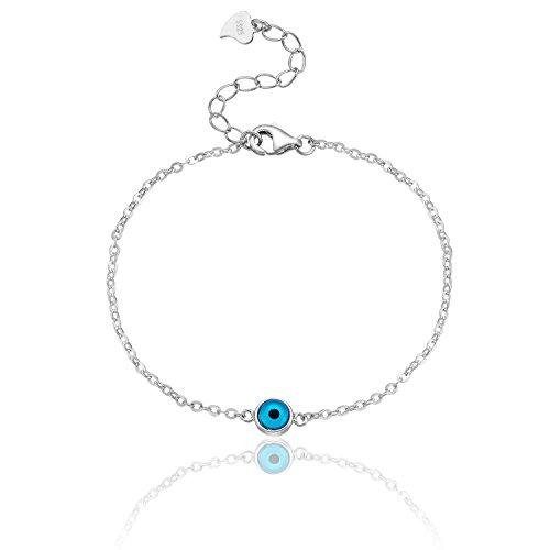 Karisma Damen Silber 925 rhodinert Armband Böses Auge Nazar Verlängerung 3cm