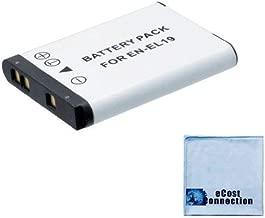 EN-EL19 Battery for Nikon Coolpix S7000, S33, S6900, S3700, S100, S2500, S2700, S2750, S3100, S3200, S02, S32, S3600, S5300, S6500, S6800, S5300, S32, S3600 Camera + eCostConnection Microfiber Cloth