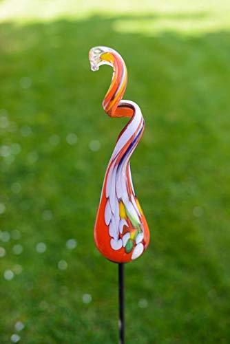 Gardecor Rosenkugel auf Stab – Handgemachte Garten Dekoration für Ihren Garten, hohe Qualität. Alle unsere Deko Garten Kugeln sind Winterfest und aus höchster Qualität (Rot)