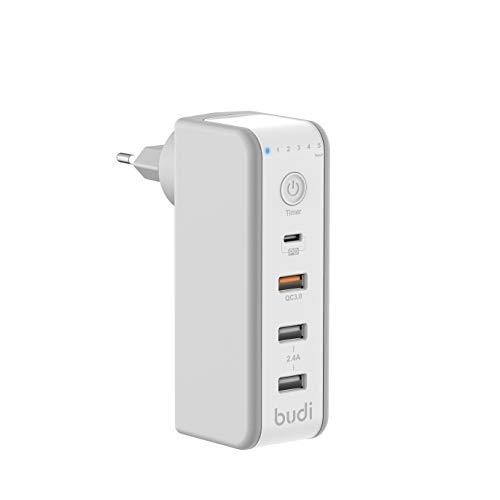 Budi Cargador USB 301T con temporizador de 6 niveles y carga rápida, 4 puertos USB con hasta 2,4 A, conector giratorio, para iPhone, Galaxy, iPad, Sony, HTC, Samsung, LG y más