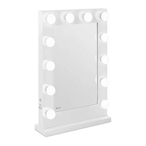 Physa Espejo Hollywood De Maquillaje PHY-CM-11 White (Marco Blanco, 12 Bombillas LED 6.400 K / CRI 80, Rectangular, con Enchufe, USB)
