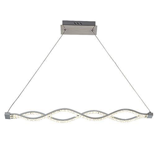 Modern LED Pendelleuchte Romantisch Kristall Kreativ Esszimmer Hängelampe Stilvoll Einfache Seilzug-Pendelleuchte Höhenverstellbar für Schlafzimmer Küche Esstisch Ø72x120cm,18W Chrom