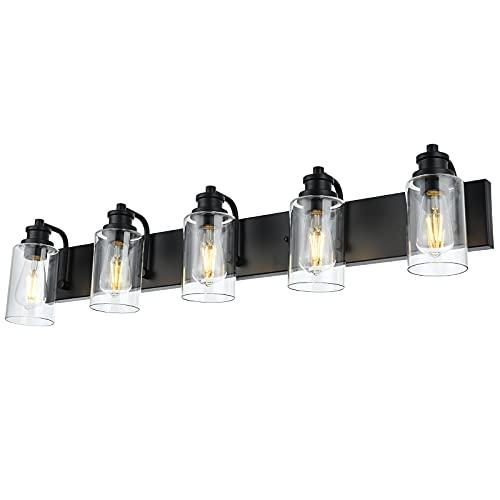 VINLUZ Industrial Bathroom Vanity Lighting 5 Light,Clear Glass Cylinder Shade Farmhouse Metal Base Wall Light Fixture in Black Finish for Bath Living Room