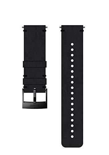 Suunto, Bracelet de remplacement Original pour Toutes les Montres Suunto Spartan Sport WRH et Suunto 9, Cuir, Longueur : 22,7 cm, Largeur : 24 mm, Noir/Noir, Broches de fixation incluses, SS050231000