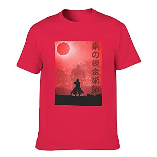 Camiseta de algodón para hombre Anime Sun, diseño japonés Red1 L