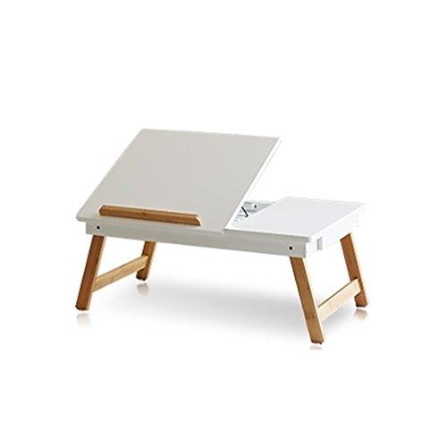 Ordinateur bureau simple lit paresseux portable table pliante Collège table étude table simple bureau (Color : Blanc)