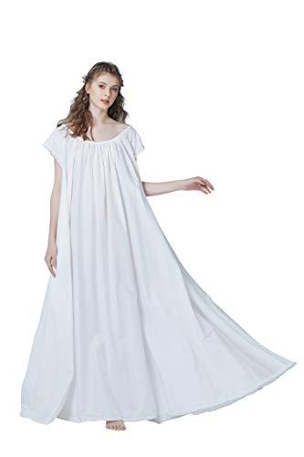 Women's Victorian Nightgown 100% Cotton Maternity Sleepwear Vintage Nightie Long M 129 Ivory