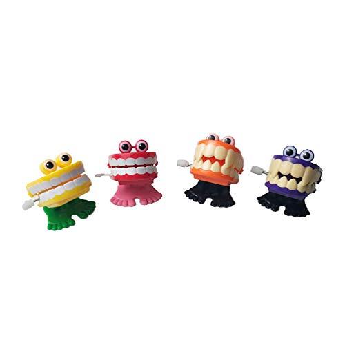 Toyvian - Aufziehspielzeug in Rosa + Gelb + Orange + Lila, Größe 4 x 4 x 5 cm
