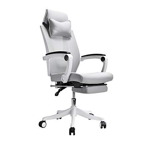 QFFL Bürostuhl, Bürodrehstuhl, Computertisch mit Hoher Rückenlehne, Mesh-Stuhl mit Verstellbarer Kopfstütze & Beinstütze für Die Heimarbeit Lernaufgabe Gaming Racing (Schwarz/Weiß/Grau)