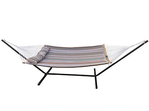 Love Story 2 Person Chain Hammock Include 12.5FT Free Standing,Prevention Fall Curved-Bar Bamboo & Detachable Pillow, Outdoor &Indoor Multi-Purpose , Grey
