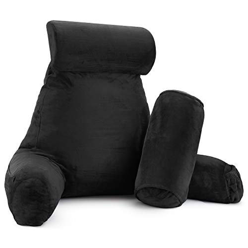 New & Improved Reading Pillow, Large Bed Rest Pillow with Arms + 2 Detachable Pillows - Shredded Memory Foam TV Pillow, Neck Roll & Lumbar Support Pillow - Set of 3 - Black