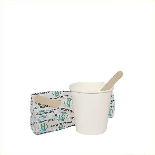 Palucart 500 Bicchieri in Carta per Caffe Bicchierini 75ml Colore Bianco 3 oz biodegradabili cartoncino per Bevande Calde Cappuccino caffè + 500 Palette in Legno di Betulla