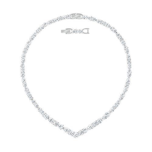 Swarovski Tennis Deluxe Mixed V-Halskette, Rhodinierte Damenhalskette mit Funkelnden Swarovski Kristallen
