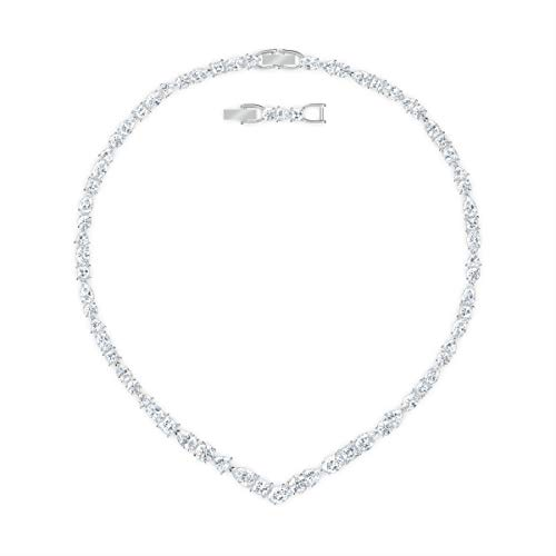 Swarovski Collana a V Tennis Deluxe Mixed, bianco, placcato rodio