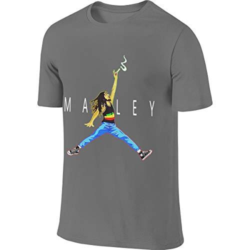 Herren Air Marley Bob-Marley Logo Bekleidung T-Shirt Kurzarm Deep Heather XL Tee T Shirt Rundhalsausschnitt Tshirt Für Männer