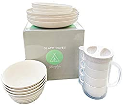 Wheat straw dinnerware sets - natural microwave safe dishes for campers - RV dishes - dishwasher safe - microwavable service for four - unbreakable dishes