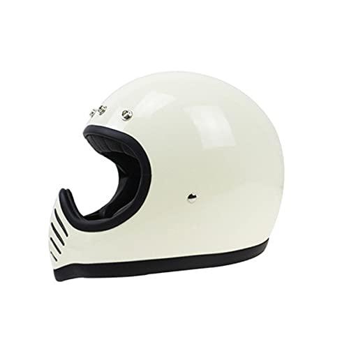 DOT aprobado estilo japonés motocicleta casco vintage Geniune fibra de vidrio motocicleta casco integral blanco M