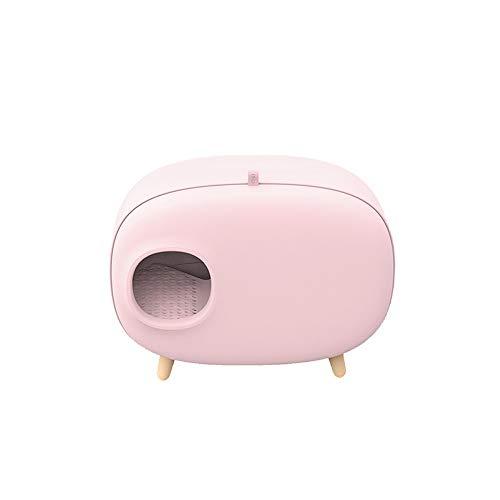 Sebasty Caja De Arena For Gatos Semi-Cerrado Higiénico Desodorantes Grandes Suministros De Camas De Animales Domésticos contra Salpicaduras PS 60 * 45 * 38cm (Color : Pink)