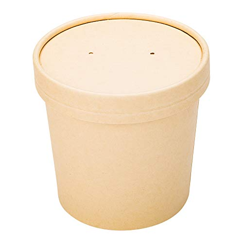 LIDS ONLY: Bio Tek Lids For 8/12 Ounce Soup Containers, 200 Vented Lids For Paper Soup Containers - Soup Cups Sold Separately, Microwavable, Bamboo Paper Lids For Disposable Soup Cups - Restaurantware