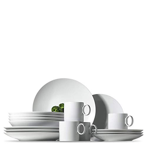 Rosenthal Thomas Loft White Dinnerware Set – Modern Dishes including Dinner Plates, Salad Plates, Soup Plates and Mugs – Made of Porcelain – 16 pieces