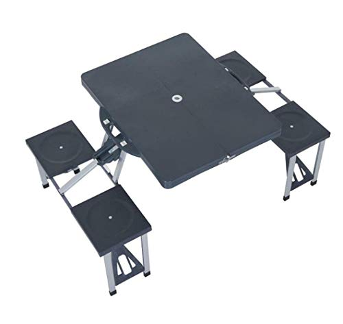 YUWEN Camping 4-Sitzer Tischset & Stühle Klappbarer Koffer Picknickbank im Freien
