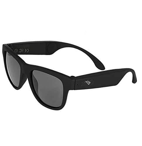 Conduzione ossea Occhiali Bluetooth Cuffie Occhiali da sole audio Sport Impermeabili Traspiranti Orecchio Aperto Musica e Chiamate in Vivavoce Smart Phone (Nero)