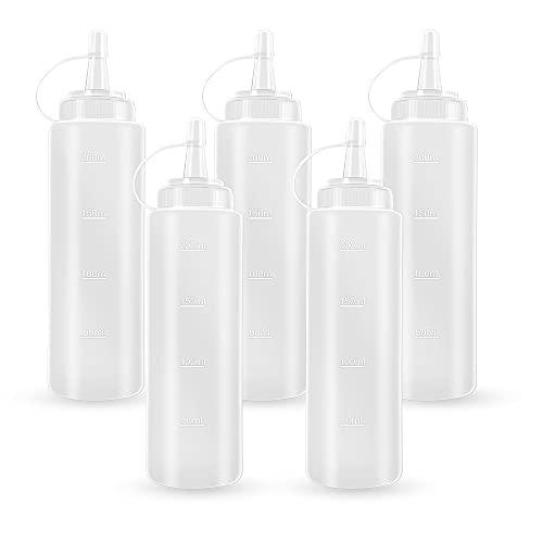 Vacoulery Squeeze Flasche, 5 Stück Quetschflasche mit Kappen - Kein Leck Condiment Flaschen Aufbewahrungsbehälter für Ketchup, Scharfe Soße, Mayo, Olivenöl, Senf, Saucenflasche, BPA-frei, 200ml
